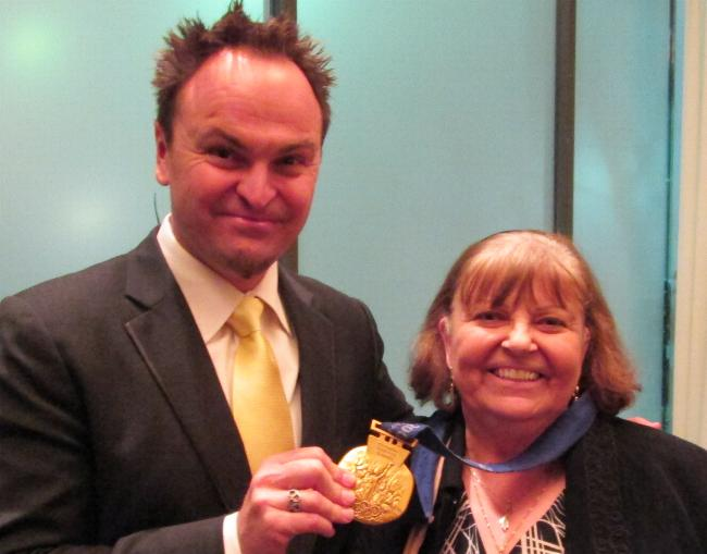 Avril with Steve Bradbury - Olympic Speed Skating Gold Medalist